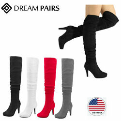 DREAM PAIRS Womens Ladies Thigh High Over The Knee Boots Stretch High Heel Boots $35.09
