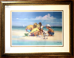 """Lucelle Raad Island Boys"""" 24/950 Limited Edition Lithograph On Paper Large Art"""