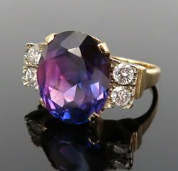 Vintage 8.0ct Natural Amethyst And 0.60ct Diamond 14k Yellow Gold Ring
