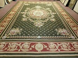 10and039 X 14and039 Vintage Hand Made English Design Needlepoint Wool Rug Flat Weave Green
