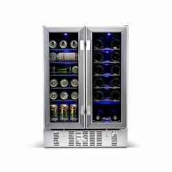 Newair Awb 360db Refrigerator Wine Beverage Cooler Dual Zone Stainless Steel New