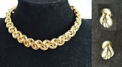 FINE JEWELRY 18K GOLD NECKLACE AND PAIR OF EARRINGS ITALIAN 124 GRAMS