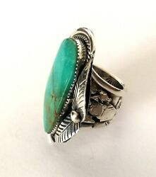 Southwestern Kay Johnson Anglo Sterling Silver Turquoise Huge Ring Sz 14