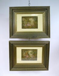 Two Pictures Gobelin Tapestry Tapestry Embroidery Framed Um 1900
