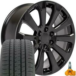 22x9 Black Rim Bda Tires And Tpms Set Fit Chevrolet And Gmc 1500 High Country