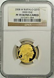 2008 W $10 Proof Gold Buffalo NGC PF70 Ultra Cameo Brown Label