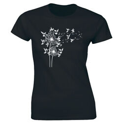 Hummingbird Dandelion Printed Black T Shirt for Women Bird Lovers Tee Shirt $15.62