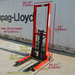 Hand Pump Lift Trucks Manual Forklifts Pallet Stackers Load Fork 63lift 2200lbs