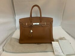 HERMES BIRKIN 731119 UNISEX 35 GOLD TOGO LEATHER WSILVER HARDWARE 2011
