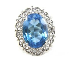 Huge Oval Blue Topaz And Diamond Halo Solitaire Ladyand039s Ring 14k White Gold 18.82ct