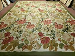 10and039 X 13and039 Hand Made English Needlepoint Wool Floral Rug Carpet Rose Garden Nice