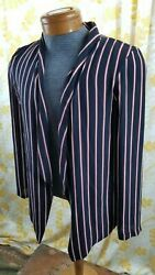 LUSH - Womens Navy w Red Stripes Buttonless Open Blouse Top Size Large