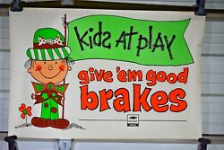 1980 3 Foot Chevy Dealership Chevrolet Kids At Play Brake Service Sign Poster