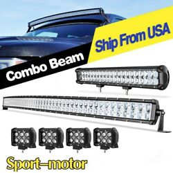 52inch 700w Curved Led Light Bar +20'' +4'' Pods Offroad Fits Jeep Truck Suv 4wd