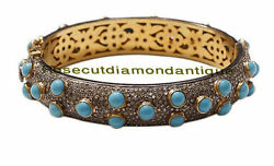 Estate Inspired By 925 Silver Antique Rose Cut 8.84ct Diamond Turquoise Bracelet