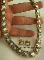 New Year Sell Silver Antique Rose Cut Diamond 9.12ct Vintage Polki Necklace Set