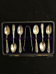 Walker And Hall Sheffiel 1904 Set Of 6 Cased Silver Teaspoons And Sugar Tong