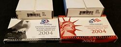 2004s U.s. Silver Proof And Silver Quarter Sets And 2004 Texas Pandd Mini Quarter Bags