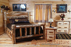 Log Bedroom Set Free Shipping      Full Size Bed