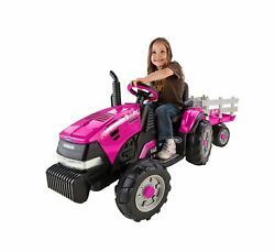 Peg Perego Kids Ride On Tractor Trailer 2v Battery Powered Girls Toy Igor0067