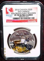 2014 Canada 20 Iconic Caribou Colorized Silver Coin - Ngc Pf 70 Ultra Cameo Er
