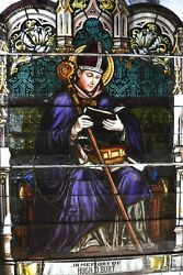 + Fine Older Stained Glass Church Window Of A Bishop + Germany, 13 Chalice Co
