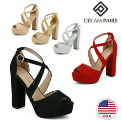 DREAM PAIRS Women's Ankle Strap Chunky High Heel Sandals Peep Toe Dress Shoes $17.99