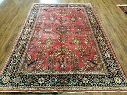 6' X 9' Antique Hand Made India Floral Rug Highly Detailed Red Hand Knotted Nice