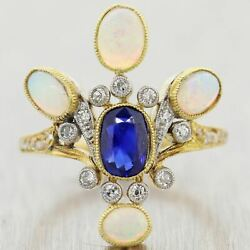 1915 Antique Art Nouveau 18k Yellow Gold Opal And Sapphire Ring