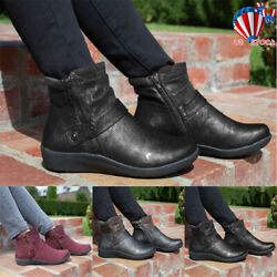 Women Leather Flat Ankle Boots Ladies Winter Casual Zip Up Booties Shoes Size6-9
