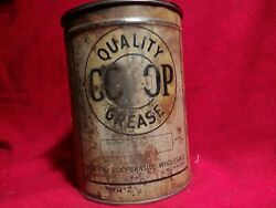 Vintage Antique Very Early Quality Co-op 5 Lb. Grease Can. 1920and039s