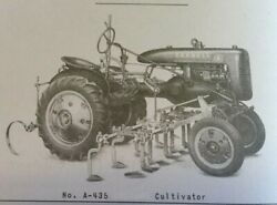 Farmall A A-134 1-row A-435 4-row Hand Lift Cultivator Owner's Parts Manual Ih