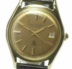 Girard-perregaux K18 Solid Gold Round Gyromatic Leather Belt Men's Watch_467635