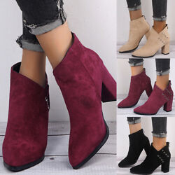 Ladies Winter Ankle Boots Womens Chelsea Block Chunky Mid Heel Zip Up Shoes Size