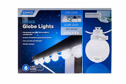 Camco RV Awning Globe Lights 6 White Globes on White Wire Outdoor Events