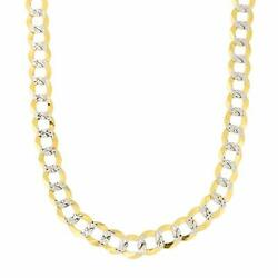 14k 2 Tone Yellow And White Gold Curb Chain Necklace 5.7mm