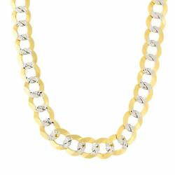 14k 2 Tone Yellow And White Gold Curb Chain Necklace 8.2mm