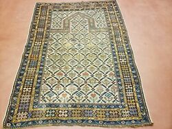 3and039 7 X 5and039 Antique Hand Made Caucasian Shirvan Wool Rug Prayer Dagestan