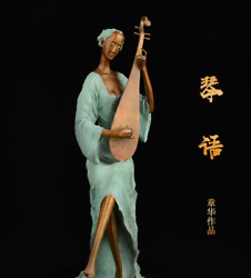 Art Deco Sculpture Abstract  A Woman Playing The Piano Bronze Statue