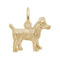 Yellow Gold Jack Russell Terrier Dog Charm