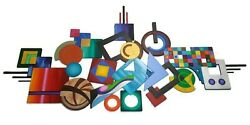 Abstract Wall Sculpture Geometric Wood And Metal Wall Art 104x53 By Art69