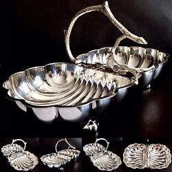 Rare Antique Ornate William Hutton And Sons 12.5andrdquo/32cm Silver Plated Serving Dish