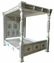 Ancestral Style Carved Four Poster Bed With Full Headboard And Top Canopyw/s
