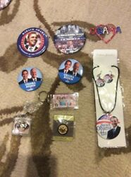 Obama 2009 Inauguration Jewelry Necklace Earrings Pin Button Lot 2008 Biden