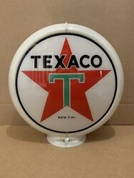 Vintage Texaco Gas Pump Globe Glass Top Sign Lens Garage Wall Decor Oil Truck