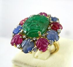 Natural Untreated Emerald Ruby Blue Sapphire Carved Diamond 18k Gold Ladies Ring