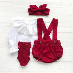Infant Christmas Outfit For Girl Baby First Xmas Party Romper Shirt Clothes Set