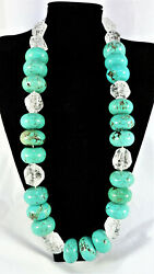 """New Large Bead Turquoise And Carved Crystal Necklace 30"""""""