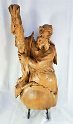 """Large Antique German Wood Carved Santo Wall Hanging Of St. Andrew 25"""""""