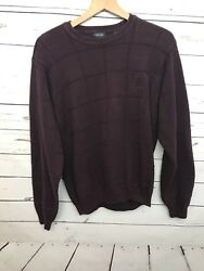 Izod Large Menandrsquos Sweater Maroon Thick Knit Long Sleeves 100 Cotton Flaws Read